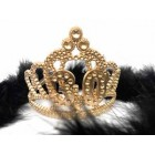Birthday Princess Tiara Gold Crown with Black or White Feather Boa Party Princess Plastic Tiara