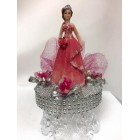 Sweet 16 Birthday Girl with Tiara on Clear Cake Base in Fuchsia