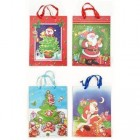 "Christmas Gift Bags Pack of 4 Styles 12.5"" X 10"" X 4.75"" Wrap Large Gifts"