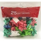 Christmas Adhesive Gift Bows 25 Count Peel and Stick for Boxes Bags Assorted Colors