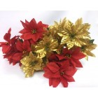 Christmas Poinsettia Red and Gold Flower Bunches Holiday Decoration Lot of 6 Tems 36 Flowers