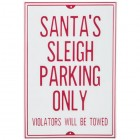 Santa's Sleigh Parking Only Metal Sign Wall Art Home Decor Christmas Decoration