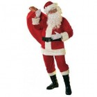 Christmas Santa Claus Mens XL Velour Red Costume with Bell Accessories