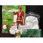 Christmas Santa Claus Mens Standard Size Red Costume with Bell Beard & Glasses Accessories