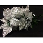Christmas Poinsettia Silver Flower Bunches Holiday Decoration Lot of 6 Tems 36 Flowers