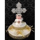 Religious Communion Christening Angel with Silver Cross Cake Topper Centerpiece Keepsake