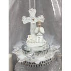 First Communion Boy with Cross Cake Topper or Centerpiece
