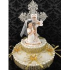 First Communion Cross with Kneeling Girl Cake Topper Centerpiece Decoration