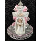 First Communion Girl with Cross Cake Topper with Centerpiece Decoration