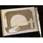 Religious First Communion Christening Signature Guest Book with Cross Special Ceremony Keepsake Gift