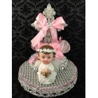 Religious Communion Christening Angel with Cross Cake Topper Centerpiece Decoration