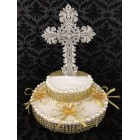 First Communion Cross Silver and Gold Cake Topper Centerpiece Decoration