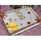 Mis 15 Anos Guest Book with Rhinestone Letter Belle Beauty and The Beast Birthday Keepsake Gift