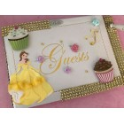 Beauty and The Beast Belle Birthday Guest Book with Cupcakes Theme Keepsake