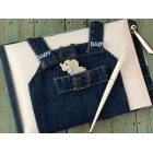 Baby Shower Boy or Girl Blue Overall Denim Theme Guest Book Signature Book