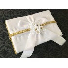 White Satin Guest Book with Sequence and Flowers Amazing Wedding Sweet 16 All Occasions