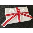 White Satin Guest Book with Red Trim Amazing Wedding Sweet 16 All Occasions
