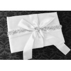 White Satin Guest Book with Silver Trimming Amazing Wedding Sweet 16 All Occasions