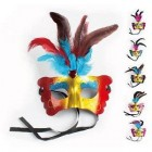 Pack of 6 Masquerade Feather Masks for Halloween, Cosplay, Dress-Up mardi Gras Costume Accessory Party Supplies