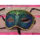 Masquerade Half Glitter Mask Halloween Party Mardi Gras Mask Blue