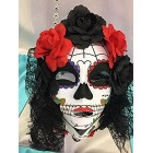 Dark Floral Design Day of the Dead Skull Girl Mask Halloween Decorations Gift Keepsake