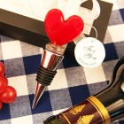 Red Heart Shaped Arte Murano Bottle Stopper