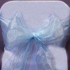 Organza Fabric Chair Bow Sash Aqua
