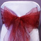Organza Fabric Chair Bow Sash Burgundy