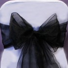 Organza Fabric Chair Bow Sash Black