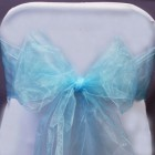 Organza Fabric Chair Bow Sash Light Blue