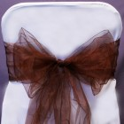 Organza Fabric Chair Bow Sash Brown