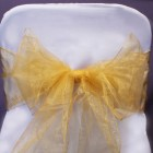 Organza Fabric Chair Bow Sash Gold