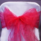 Organza Fabric Chair Bow Sash Hot Pink