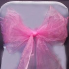 Organza Fabric Chair Bow Sash Pink