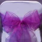 Organza Fabric Chair Bow Sash Purple