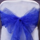 Organza Fabric Chair Bow Sash Blue
