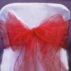 Organza Fabric Chair Bow Sash Coral