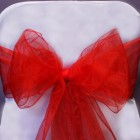 Organza Fabric Chair Bow Sash Red