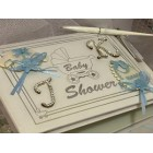 Baby Shower Guest Book It's a Boy Blue Monogram Rhinestone Letters Keepsake