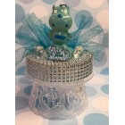 Birthday or Baby Shower Baby Blue Monster Candle Cake Topper Centerpiece Gift