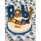 Blue and Gold Baby Shower Prince Cake Topper Centerpiece Decoration