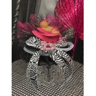 Fuchsia Zebra Ethnic Girl Baby Shower Cake Topper or Centerpiece