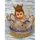 Prince Boy Inside Glass Crown Cake Topper Baby Shower Favor Decoration