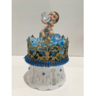 "Baby Shower Crown Prince Baby Boy Cake Topper Centerpiece Decoration 8"" H"