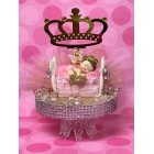 Baby Shower Pink Sleeping Princess Girl Cake Topper Crown Centerpiece