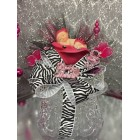 Fuchsia Zebra Girl Baby Shower Cake Topper or Centerpiece