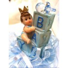 Baby Shower Baby Blue Prince with Blocks Cake Top Decoration