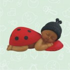 Ethnic Ladybug Baby Figurine Favor Decoration Keepsake