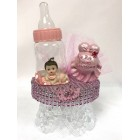 Baby Girl with Baby Shower Bottle Cake Topper Centerpiece Decoration