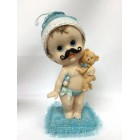 Baby Shower Large Baby with Mustache & Teddy Bear Cake Topper Centerpiece Favor